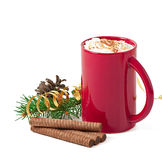 Christmas card with red coffee cup topped with whipped cream. On white background Royalty Free Stock Photo