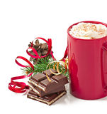Christmas card with red coffee cup topped with whipped cream Stock Photography