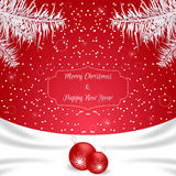 Christmas card of red color with white silk and white fir branches and red balls. Suitable for invitations. Vector Stock Photos