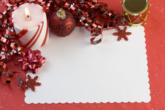 Christmas card red decorations Stock Photography