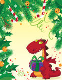 Christmas card and red dragon Stock Image