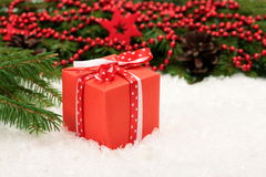 Christmas card: red gift box Royalty Free Stock Images