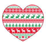 Christmas card - red and green nordic pattern on white Royalty Free Stock Images