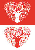 Christmas card with red heart, vector Stock Photos