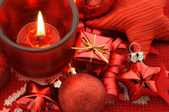 Christmas Card. Red holiday decoration - baubles,star,gift and candle Royalty Free Stock Image