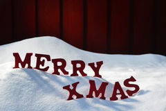 Christmas Card With Red Letters Merry Xmas, Snow Royalty Free Stock Photo