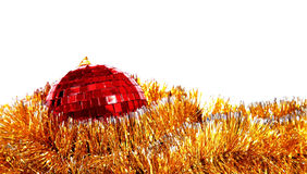 Christmas card with red mirror sphere. On  white background Stock Images