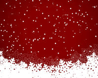 Christmas card red. Christmas and New Years red background with paper snowflakes. vector illustration Royalty Free Stock Photos