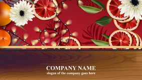 Christmas card with red orange slices and lights Vector. Illustration Stock Image
