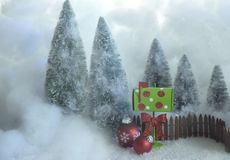 Christmas card red ornaments ,mail box and trees. Christmas card red ,trees and mail box in cloud decorated for greeting card royalty free stock images