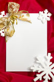 Christmas card. Red Christmas card, red christmas ornaments and seasonal greetings. White empty card for your text Stock Photography