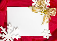 Christmas card. Red Christmas card, red christmas ornaments and seasonal greetings. White empty card for your text Royalty Free Stock Images