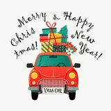 Christmas card. Red retro car with a fir tree and gifts. Vector illustration. Christmas card. Red retro car with fir tree and gifts. Vector illustration royalty free illustration
