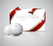 Christmas card - red  ribbon around blank paper Royalty Free Stock Image