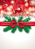Christmas Card Red Ribbon Snowfall Rentier Royalty Free Stock Images