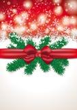 Christmas Card Red Ribbon Snowfall Royalty Free Stock Images
