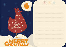 Christmas card with red rooster. And egg Royalty Free Stock Photo