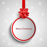 Christmas card with red round sign pointer template Stock Photo