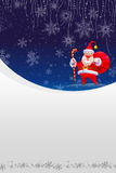 Christmas Card with Red Santa and White Snow Royalty Free Stock Photos