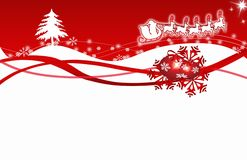 Christmas card red snowflakes Royalty Free Stock Images