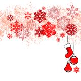 Christmas card with red snowflakes Stock Image