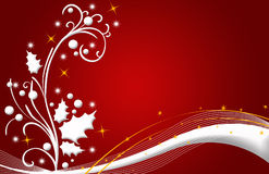 Christmas Card Red, Stars And Flowers Royalty Free Stock Photos