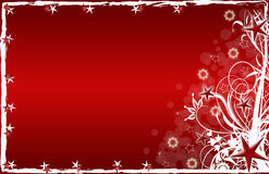 Christmas Card Red Stars And Flowers Royalty Free Stock Photography