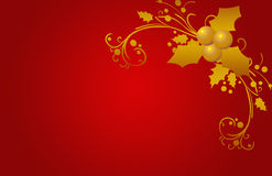 Christmas Card Red, Stars And Flowers Stock Photos