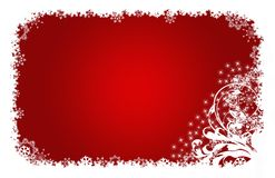 Christmas Card Red, Stars And Flowers Stock Photography