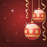 Christmas card. Christmas card in red tones. Christmas balls with gold ornament Royalty Free Stock Image