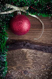 Christmas card with red toy Royalty Free Stock Images