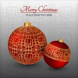 Christmas card. Red Christmas toys with the golden ornament. Ornament background. Christmas card. Green Christmas toys with the golden ornament. Background with Royalty Free Stock Images