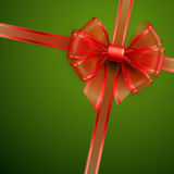 Christmas card - Red transparent bow. Stock Image