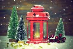 Christmas card with vintage lantern Stock Image