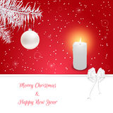Christmas card red and white fir branch with hanging on it with white ball. Burning candle and white bow. Suitable for invitations. Vector Stock Photos