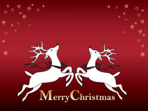 Christmas card with reindeer Royalty Free Stock Images