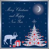 Christmas card with a reindeer. Royalty Free Stock Image