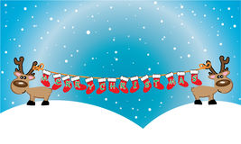 Christmas card with reindeer Stock Images