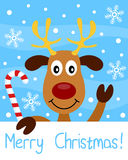 Christmas Card with Reindeer. Merry Christmas card with a happy reindeer on a snowy background. Eps file available Royalty Free Stock Photography
