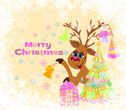 Christmas card with Reindeer Royalty Free Stock Photography