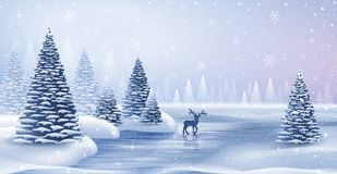 Christmas card with reindeer. And snowflakes. Vector illustration Stock Photos