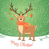 Christmas card with reindeer. Cute cartoon deer Royalty Free Stock Photo