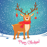 Christmas card with reindeer. Cute cartoon deer Royalty Free Stock Photography