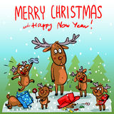 Christmas card with reindeer Stock Photography