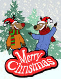 Christmas card with reindeer in funny hat Stock Images