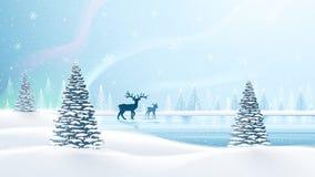 Christmas card with reindeer Stock Photos