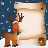 Christmas card with reindeer and parchment Stock Photography