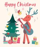 Christmas card reindeer plays guitar royalty free illustration