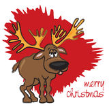 Christmas card with reindeer on red background. Funny cartoon illustration Royalty Free Stock Photo