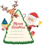 Christmas card with reindeer and Santa. Illustration Royalty Free Stock Photography
